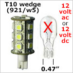 12 vac T10 Wedge LED Bulbs