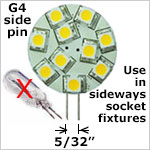 12 volt LED Bulbs - G4 side pins