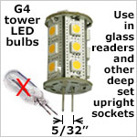 12 volt LED Bulbs G4 - GU4 Tower