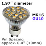 12 volt LED Bulbs MR16 GU10