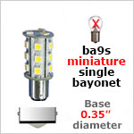 12 volt LED Bulbs ba9s Miniature Single Bayonet