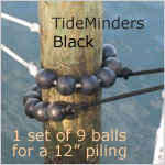 TideMinders Piling Balls: set of 9 BLACK balls