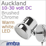 12 volt LED Reading Light (10-30vdc) - Auckland with switch, Brushed Chrome, warm white LED, IP20, 92 lumens