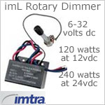 12 volt dimmer (6-32 volt dc Input, 12vdc or 24vdc Output) - imL Rotary Dimmer, 10 Amp Dimmer with On-Off rotary switch