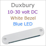 12 volt LED Courtesy Light (10-30vdc) - Duxbury, White finish, blue LED, IP65