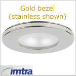 12 volt Ceiling Light - Hatteras Recess mount light, gold, frosted lens, frosted lens, G4 socket (10 watt bulb max, bulb sold separately), ip40