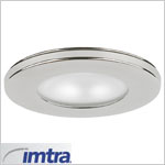 12 volt Ceiling Light - Hatteras Recess mount light, polished stainless steel, frosted lens, G4 socket (10 watt bulb max, bulb sold separately), ip40