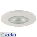 12 volt Ceiling Light - Hatteras Recess mount light, white finish, frosted lens, G4 socket (10 watt bulb max, bulb sold separately), ip40