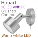 12 volt LED Reading Light (10-30vdc) - Hobart with switch, Brushed Chrome, warm white LED, IP20, 92 lumens