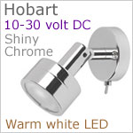 12 volt LED Reading Light (10-30vdc) - Hobart with switch, Shiny Chrome, IP20, 92 lumens