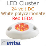 LED Cluster Courtesy Light, White housing, 24v, RED LEDs, IP65, 1.56 inches L x 0.82 W x 0.4 H