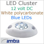 12 volt LED Cluster Courtesy Light, BLUE LEDs, IP65, 1.56 inches L x 0.82 W x 0.4 H