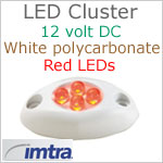 12 volt LED Cluster Courtesy Light, RED LEDs, IP65, 1.56 inches L x 0.82 W x 0.4 H