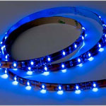 12 volt LED Tape Strip - Flexible Light Strip, Blue LEDs, 8 foot length, with 5 inch wire leads