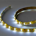 12 volt LED Tape Strip - Flexible Light Strip, Cool White LEDs, 4 foot length, with 5 inch wire leads