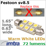 12 volt LED Replacement Bulbs (10-30v dc), for SV8.5 festoon Socket, Warm White, 1.5W, 72 lumens, Directional