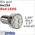 12 volt LED Replacement Bulbs (10-30v dc), Six Gun for ba15d Socket, Red, 1.5W, Directional