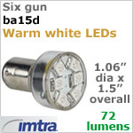 12 volt LED Replacement Bulbs (10-30v dc), Six Gun for BA15s Socket, Warm White, 1.5W, 72 lumens, Directional