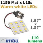12 Volt LED Replacement Array (10-30v dc), 1156 Matrix for B15s Socket (single contact), Warm White, 110 lumen, 2 Watt, Directional