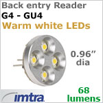 12 Volt LED Bulb (10-30v dc), Back Entry Imtra Reader G4-GU4, 64 Lumens, 1.8 Watt, Warm White LED's