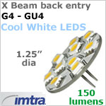 12 volt LED Replacement Bulbs (10-30v dc), X-Beam for G4-GU4 Socket (Back Pin), Cool White, 2.2W, 150 lumens, Directional
