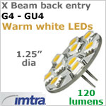12 volt LED Replacement Bulbs (10-30v dc), X-Beam, for G4-GU4 Socket (Back Pin), Warm White, 2.2W, 120 lumens, Directional