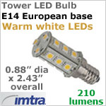 12 volt LED Replacement Bulbs (10-30v dc), Tower for E14 Socket, Warm White, 3.0W, 210 lumens, Omni-Directional