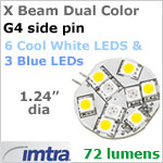 12 volt LED Replacement Bulbs (10-30v dc), X-Beam G4 Socket (Side Pin), Dual Color Blue-Cool White, 1.6W, 72 lumens