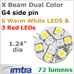 12 volt LED Replacement Bulbs (10-30v dc), X-Beam G4 Socket (Side Pin), Dual Color Red-Warm White, 1.6W, 72 lumens