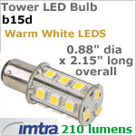 12 volt LED Replacement Bulbs (10-30v dc), Tower style for B15d Socket, Warm White, 3 Watt, 210 lumens, Omni-Directional