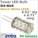 12 volt LED Replacement Bulbs (10-30v dc), Tower LED for G4-GU4 Socket, Warm White, 1.3W, 90 lumens, Omni-Directional