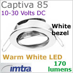 12 volt LED light (10-30vdc) - Captiva 85 Dimmable Power LED Light, swivel - eyeball, WHITE Bezel. WARM WHITE LED