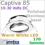 12 volt LED light (10-30vdc) - Captiva 85 Dimmable Power LED Light, swivel - eyeball, Polished STAINLESS Steel Bezel. WARM WHITE LED