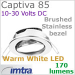 12 volt LED light (10-30vdc) - Captiva 85 Dimmable Power LED Light, swivel - eyeball, BRUSHED STAINLESS Steel Bezel. WARM WHITE LED