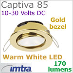 12 volt LED light (10-30vdc) - Captiva 85 Dimmable Power LED Light, swivel - eyeball, GOLD Bezel. WARM WHITE LED