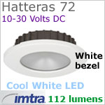 12 volt LED light (10-30vdc) - Hatteras 72 Recess Dimmable Power LED, WHITE Bezel, COOL WHITE LED spot with wide-flood light beam