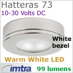 12 volt LED light (10-30vdc) - Hatteras 73 Surface Dimmable Power LED with Base [surface mount], WHITE Bezel, WARM white LED spot with wide-flood light beam
