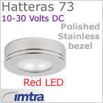 12 volt LED light (10-30vdc) - Hatteras 73 Surface Dimmable Power LED with Base [surface mount], Polished Stainless Steel Bezel, RED LED spot spot with wide beam