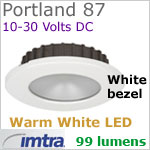 12 volt LED light (10-30vdc) - Portland 87 Dimmable Power LED, WHITE Bezel, WARM White LED