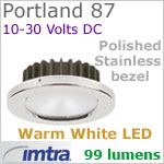 12 volt LED light (10-30vdc) - Portland 87 Dimmable Power LED, Polished Stainless Steel Bezel, WARM White LED
