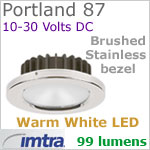 12 volt LED light (10-30vdc) - Portland 87 Dimmable Power LED, Brushed Stainless Steel Bezel, WARM White LED
