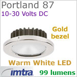 12 volt LED light (10-30vdc) - Portland 87 Dimmable Power LED, Gold Bezel, WARM White LED