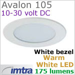 12 volt LED light (10-30vdc) - Avalon 105 Power LED Light, White finish, warm white LED, IP65, Diameter: 105mm - 4.13 inch