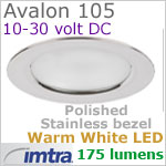 12 volt LED light (10-30vdc) - Avalon 105 Power LED Light, Polished Stainless Steel, warm white LED, IP65, Diameter: 105mm - 4.13 inch
