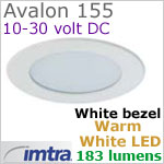12 volt LED light (10-30vdc) - Avalon 155 Power LED Light, White finish, warm white LED, IP65, Diameter: 155mm - 6.10 inch