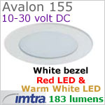 12 volt LED light (10-30vdc) - Avalon 155 Bi-Color LED Light, White finish, warm white -red LED, IP65, Diameter: 155mm - 6.10 inch