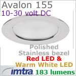 12 volt LED light (10-30vdc) - Avalon 155 Bi-Color LED Light, Polished Stainless Steel, warm white -red LED, IP65, Diameter: 155mm - 6.10 inch