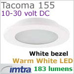 12 volt LED light (10-30vdc) - Tacoma 155 Power LED Light, White finish, warm white LED, IP65, Diameter: 155mm - 6.10 inch