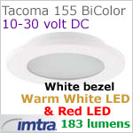 12 volt LED light (10-30vdc) - Tacoma 155 Bi-Color LED Light, White finish, warm white -red LED, IP65, Diameter: 155mm - 6.10 inch