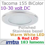 12 volt LED light (10-30vdc) - Tacoma 155 Bi-Color LED Light, Polished Stainless Steel, warm white -red LED, IP65, Diameter: 155mm - 6.10 inch